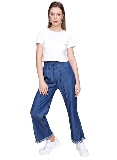 Butikburuç Kadın Açık Mavi Bel Lastik Tencel Pantolon Mavi
